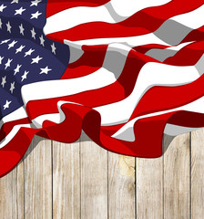 american flag with wood background