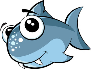 Vector illustration of a small monster cute baby shark