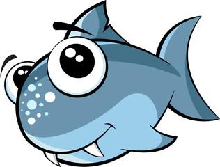 Vector illustration of a small monster cute baby shark