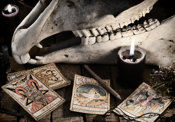 Scary skull with the Tarot cards, herbs, pencil and black candles. Mystic Halloween still life