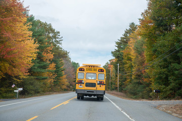 School bus drives down a country road in autumn