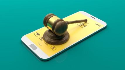 Judge gavel on a smartphone. 3d illustration