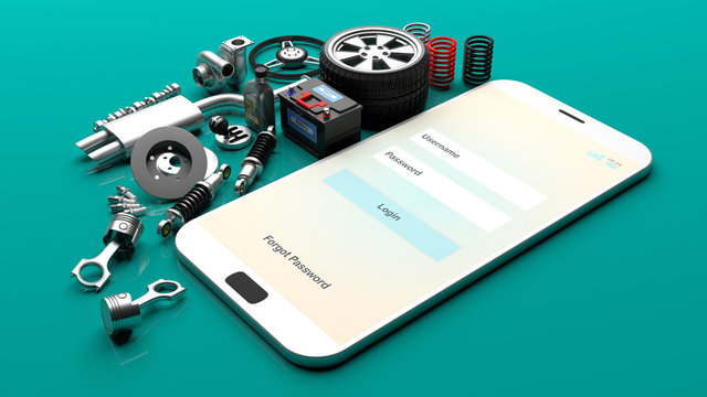 Car parts on a smartphone screen. 3d illustration