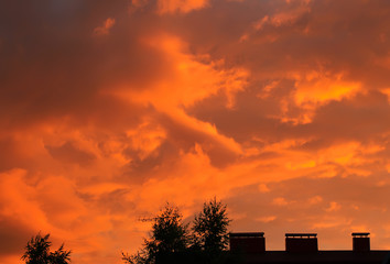 Red clouds at sunset.