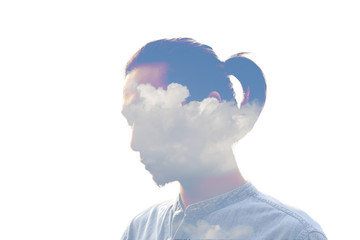 Double exposure man and and blue clouds. Creative portrait.
