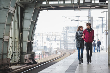 Couple in railway station
