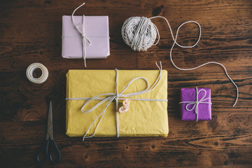Presents, scissor, twine and tape from above