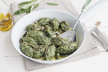 Food: Malfatti, Spinach Ricotta Dumplings with Sage Butter in a