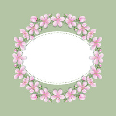 Card with a floral print with place for text. Round frame of sakura flowers. Template for greetings or invitations.