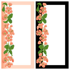 Card with a floral print with place for text. Realistic quince flowers. Two vertical banners for greeting or invitation.