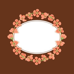 Card with a floral print with place for text. Round frame of quince flowers. Template for greetings or invitations.