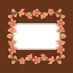 Card with a floral print with place for text. Square frame of quince flowers. Template for greetings or invitations.
