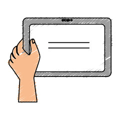 hand human with tablet vector illustration design