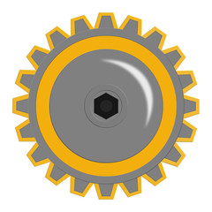 Illustration of a yellow gear cog