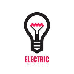 Electric lamp - vector logo template concept illustration. Lightbulb creative sign.