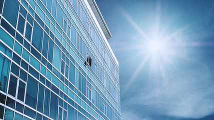 Panoramic Modern Building Facade with one opened Window, on blue sky with bright sunshine Fototapete