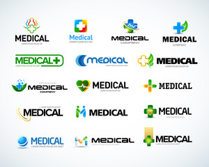Medical and health logo design templates set. Medical pharmacy logotypes set. Isolated Vector illustration
