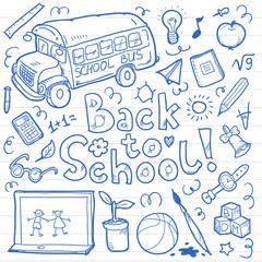 Set of doodle back to school elements. Vector illustration