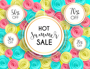 Summer sale background layout banners voucher discount cut paper art style for banner, poster, promotion, web site, online shopping, advertising. Vector illustration with paper rose flowers.