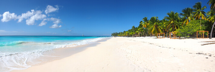 Photo sur Aluminium Tropical plage Isla Saona tropical beach panorama
