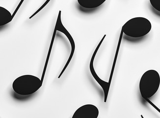 3d render of music notes closeup in monochrome