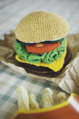 Amigurumi hamburger and fries