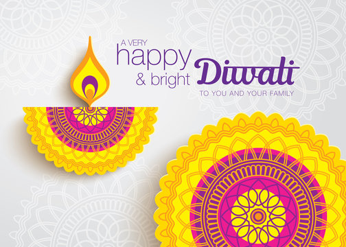 Diwali festival greeting card with beautiful rangoli and diya backgrounds