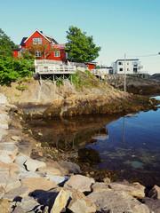 Harbour fishing boat house norway.Polar circle.Norway.