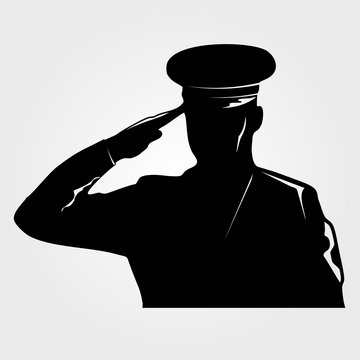 Saluting Army general  silhouette