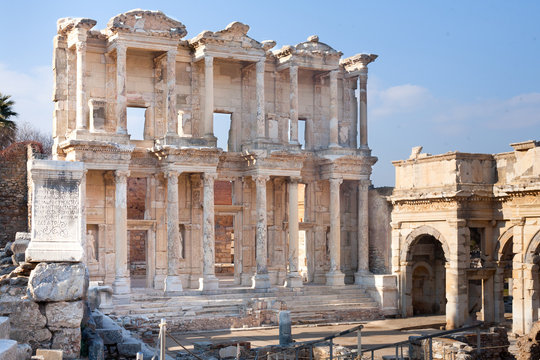 Roman Library facade with stone columns in ephesus Archaeological site in turkey