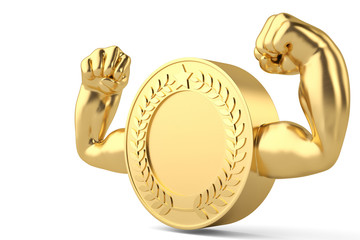 Creative concept muscle gold coin 3D illustration