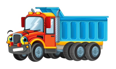 cartoon happy cargo truck looking and smiling - illustration for children