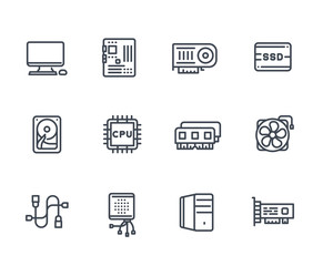 computer components icons on white, processor, motherboard, RAM, video card, HDD, SSD, fan