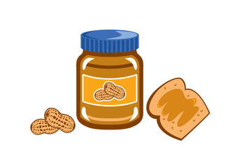 Peanut Butter vector. Jar of peanut butter on white background