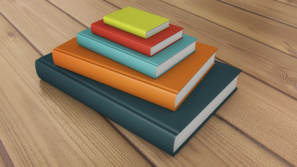 3d render. Many stacked colored books