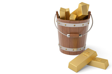 Wooden bucket and gold bricks on white background 3D illustration.