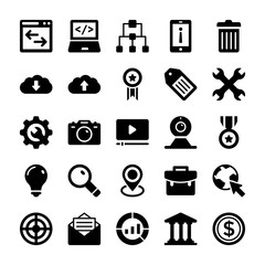 Seo and Digital Marketing Glyph Vector Icons 6