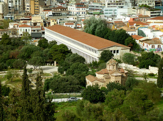 Aerial view of the Stoa of Attalos and the Church of the Holy Apostles in Athens, Greece