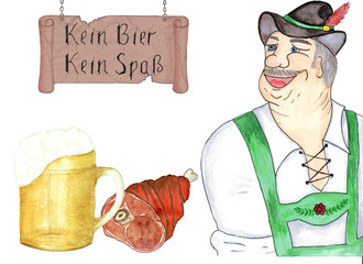 "A man in a national Bavarian costume smiles. A large mug with beer and a national snack is a baked pork ham. The old cracked sign on the chains with the inscription in German: ""No beer, no fun."" Isola"