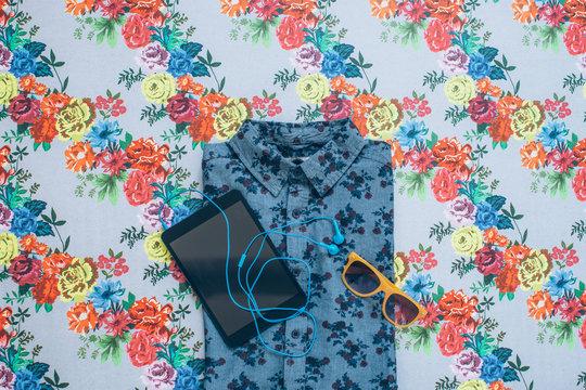 Floral Shirt with Digital Tablet
