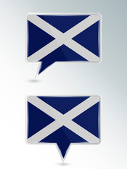 Set of pointers. The national flag of Scotland on the location indicator. Vector illustration.