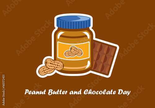 Quot National Peanut Butter And Chocolate Day Vector Jar Of