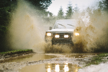4WD vehicle going through water