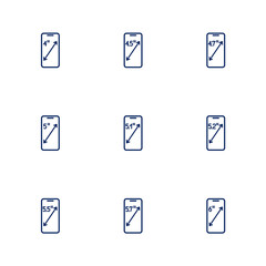 A picture depicting different diagonals of smartphones screens