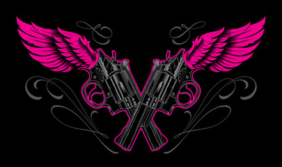 Pistols and wings with calligraphic design elements