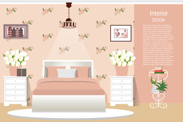 The interior of the bedroom. Elegant room for girls. Cartoon. Vector illustration.