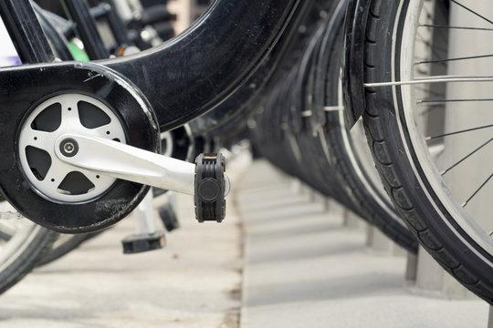 Urban: Closeup of Bicycles in Rack