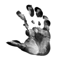 Kid hand prints black acrylic or ink isolated on white background. fingerprint or stamp texture artwork of kids for education and journey. Top view. Black and white colors. Close up.