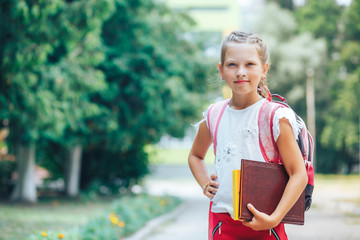 Smiling little girl goes to school with a book and holds books in her hand