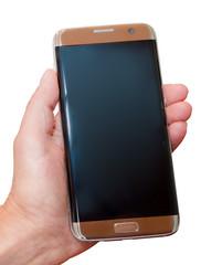 smartphone in der hand einer frau freigestellt